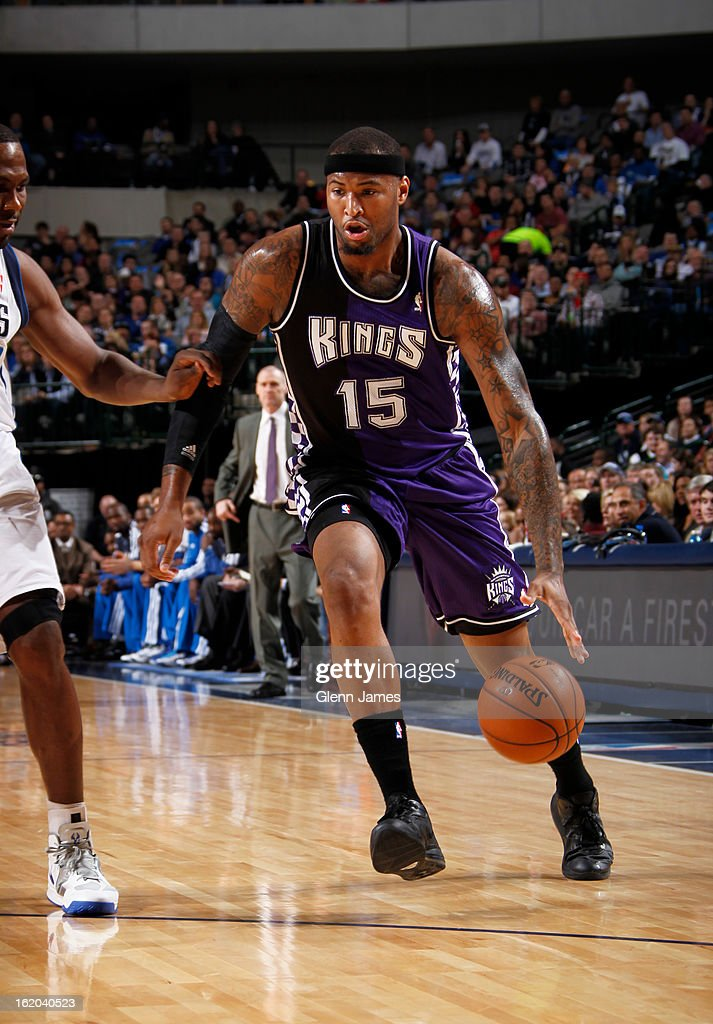 <a gi-track='captionPersonalityLinkClicked' href=/galleries/search?phrase=DeMarcus+Cousins&family=editorial&specificpeople=5792008 ng-click='$event.stopPropagation()'>DeMarcus Cousins</a> #15 of the Sacramento Kings drives to the basket against the Dallas Mavericks on February 13, 2013 at the American Airlines Center in Dallas, Texas.