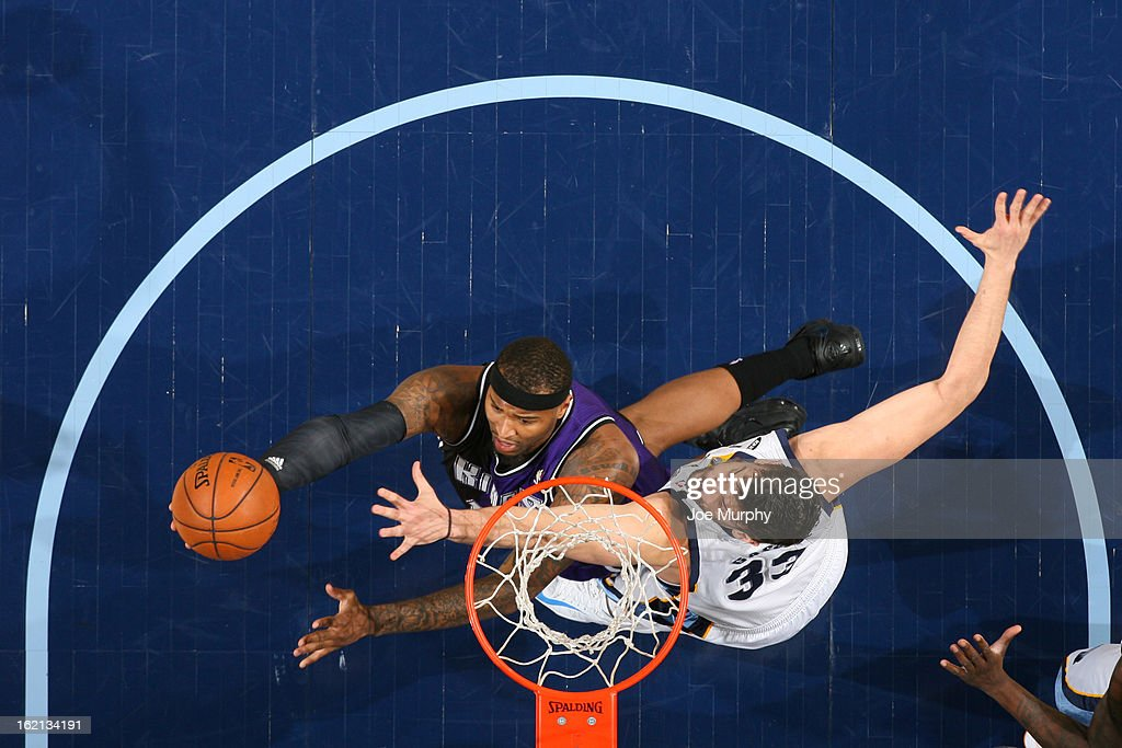<a gi-track='captionPersonalityLinkClicked' href=/galleries/search?phrase=DeMarcus+Cousins&family=editorial&specificpeople=5792008 ng-click='$event.stopPropagation()'>DeMarcus Cousins</a> #15 of the Sacramento Kings drives to the basket against <a gi-track='captionPersonalityLinkClicked' href=/galleries/search?phrase=Marc+Gasol&family=editorial&specificpeople=661205 ng-click='$event.stopPropagation()'>Marc Gasol</a> #33 of the Memphis Grizzlies on February 12, 2013 at FedExForum in Memphis, Tennessee.