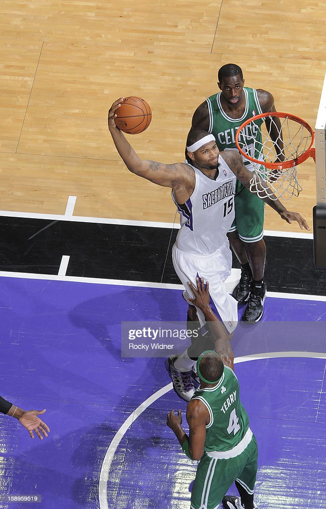 DeMarcus Cousins #15 of the Sacramento Kings dunks against Jason Terry #4 of the Boston Celtics on December 30, 2012 at Sleep Train Arena in Sacramento, California.
