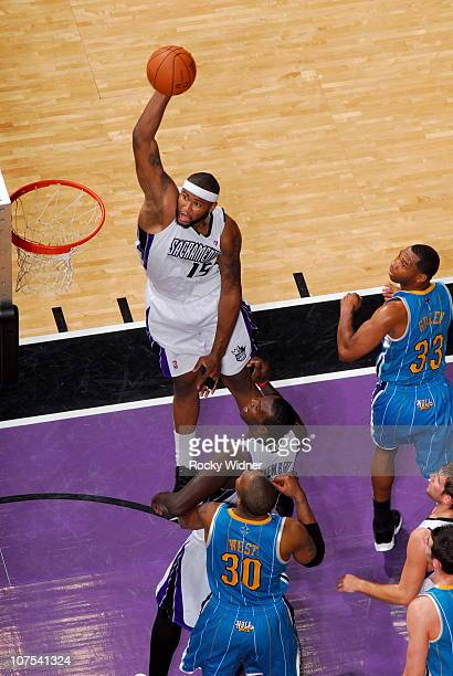 DeMarcus Cousins of the Sacramento Kings dunks against the New Orleans Hornets on November 21 2010 at ARCO Arena in Sacramento California NOTE TO...