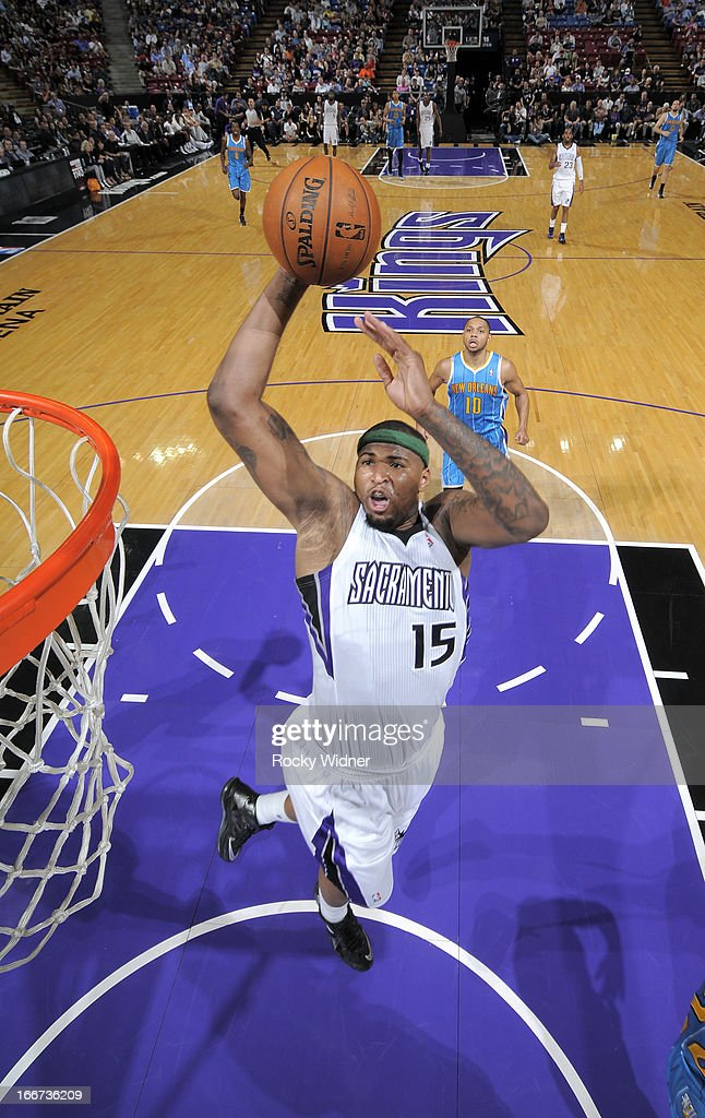 DeMarcus Cousins #15 of the Sacramento Kings dunks against the New Orleans Hornets on April 10, 2013 at Sleep Train Arena in Sacramento, California.