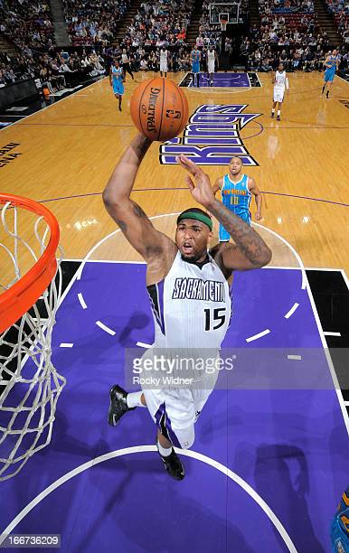 DeMarcus Cousins of the Sacramento Kings dunks against the New Orleans Hornets on April 10 2013 at Sleep Train Arena in Sacramento California NOTE TO...