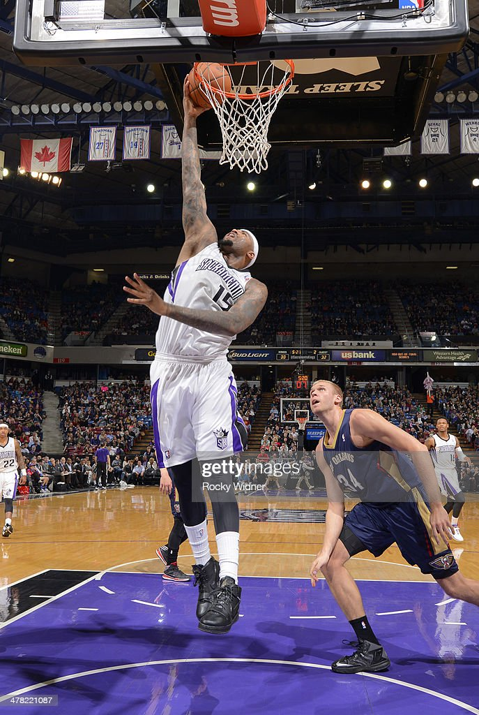 DeMarcus Cousins #15 of the Sacramento Kings dunks against the New Orleans Pelicans on March 3, 2014 at Sleep Train Arena in Sacramento, California.