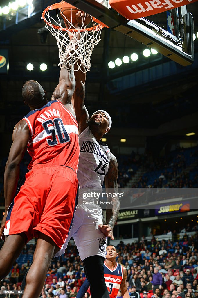 <a gi-track='captionPersonalityLinkClicked' href=/galleries/search?phrase=DeMarcus+Cousins&family=editorial&specificpeople=5792008 ng-click='$event.stopPropagation()'>DeMarcus Cousins</a> #15 of the Sacramento Kings dunks the ball against <a gi-track='captionPersonalityLinkClicked' href=/galleries/search?phrase=Emeka+Okafor&family=editorial&specificpeople=201739 ng-click='$event.stopPropagation()'>Emeka Okafor</a> #50 of the Washington WIzards on January 16, 2013 at Sleep Train Arena in Sacramento, California.