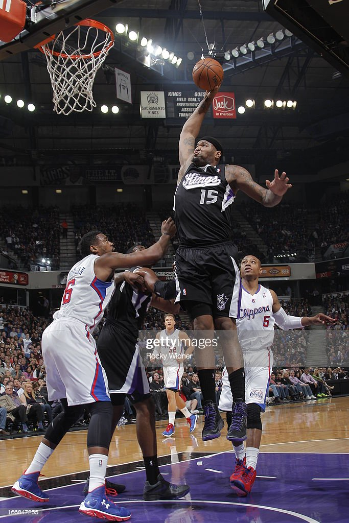 DeMarcus Cousins #15 of the Sacramento Kings dunks the ball against DeAndre Jordan #6 of the Los Angeles Clippers on April 17, 2013 at Sleep Train Arena in Sacramento, California.