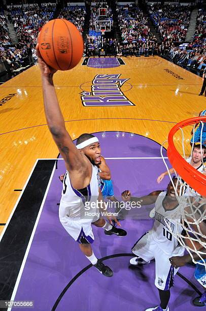 DeMarcus Cousins of the Sacramento Kings dunks the ball against the New Orleans Hornets on November 21 2010 at ARCO Arena in Sacramento California...