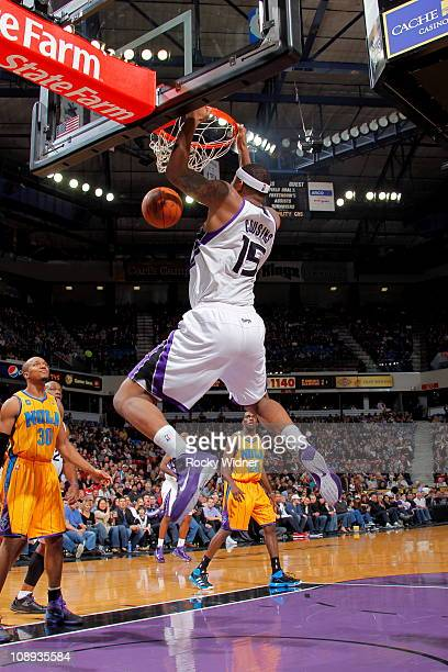 DeMarcus Cousins of the Sacramento Kings dunks the ball against the New Orleans Hornets on January 29 2011 at ARCO Arena in Sacramento California...