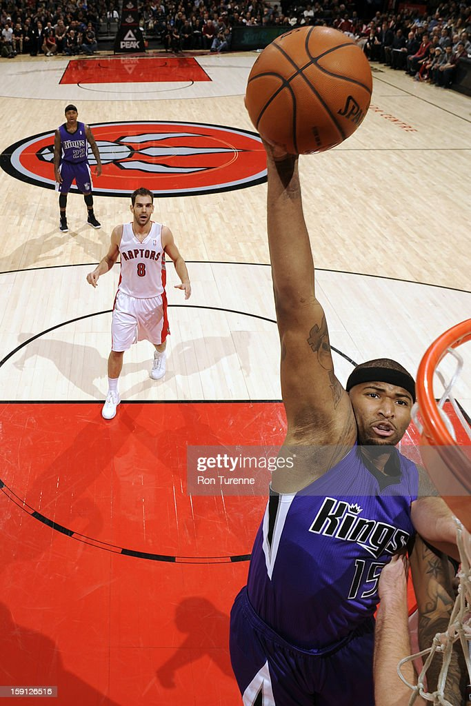DeMarcus Cousins #15 of the Sacramento Kings dunks the ball against the Toronto Raptors on January 4, 2013 at the Air Canada Centre in Toronto, Ontario, Canada.