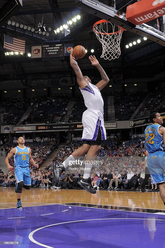 DeMarcus Cousins #15 of the Sacramento Kings dunks the ball against the New Orleans Hornets on April 10, 2013 at Sleep Train Arena in Sacramento, California.