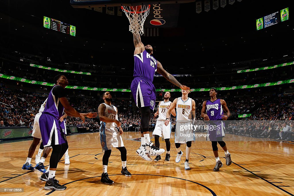 DeMarcus Cousins of the Sacramento Kings dunks the ball against the Denver Nuggets at Pepsi Center on February 23 2016 in Denver Colorado The Kings...