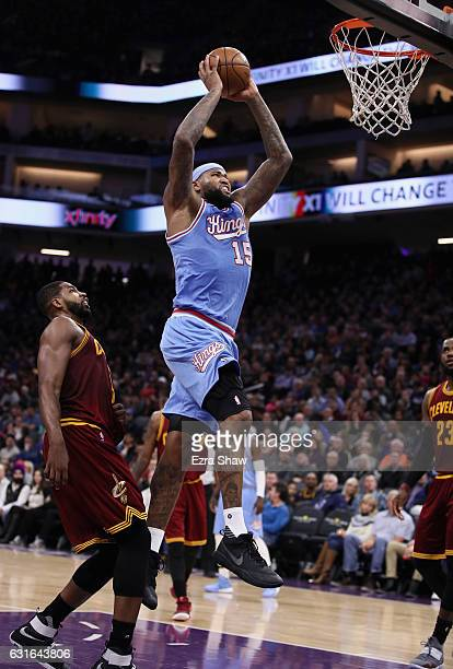 DeMarcus Cousins of the Sacramento Kings dunks the ball on Tristan Thompson of the Cleveland Cavaliers at Golden 1 Center on January 13 2017 in...