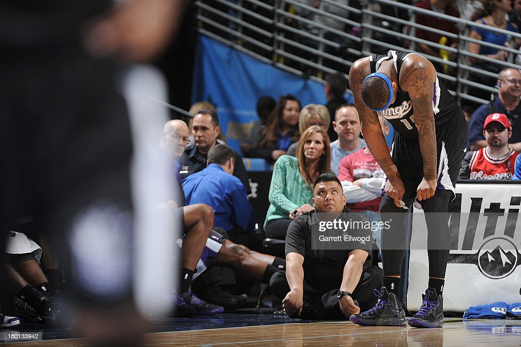 <a gi-track='captionPersonalityLinkClicked' href=/galleries/search?phrase=DeMarcus+Cousins&family=editorial&specificpeople=5792008 ng-click='$event.stopPropagation()'>DeMarcus Cousins</a> #15 of the Sacramento Kings during the game between the Sacramento Kings and the Denver Nuggets on January 26, 2013 at the Pepsi Center in Denver, Colorado.