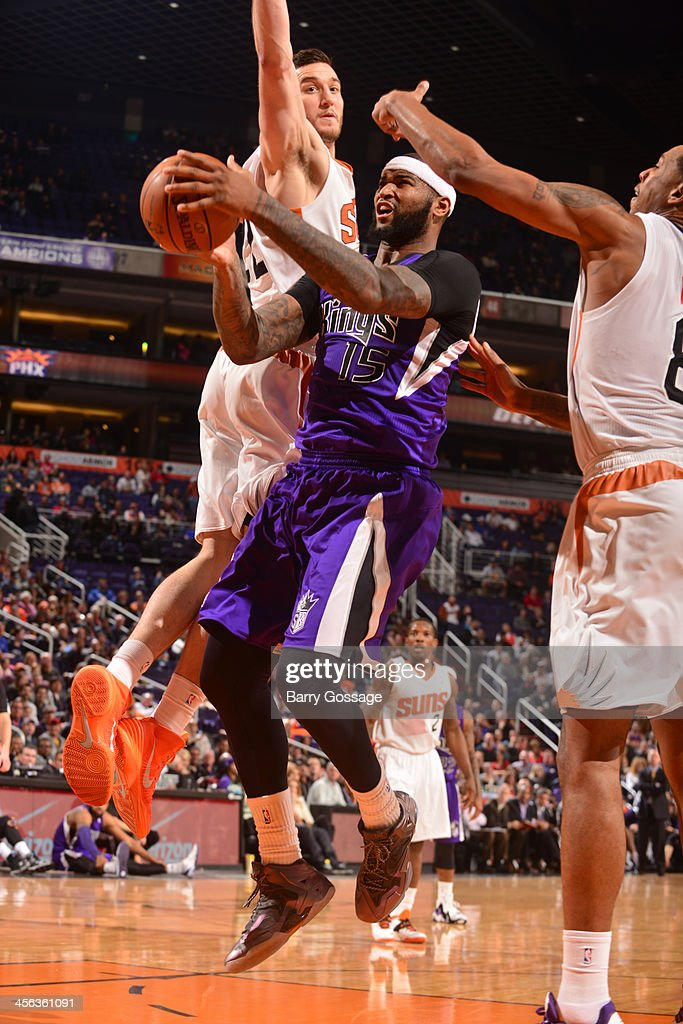 <a gi-track='captionPersonalityLinkClicked' href=/galleries/search?phrase=DeMarcus+Cousins&family=editorial&specificpeople=5792008 ng-click='$event.stopPropagation()'>DeMarcus Cousins</a> #15 of the Sacramento Kings goes to the basket against the Phoenix Suns on December 13, 2013 at U.S. Airways Center in Phoenix, Arizona.