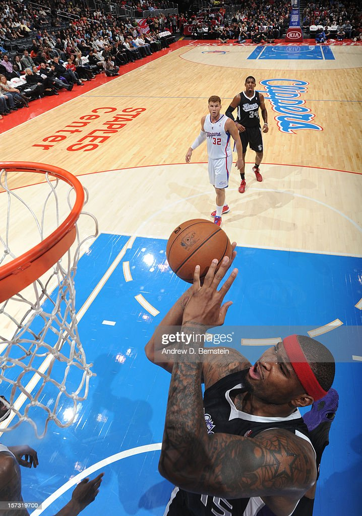 DeMarcus Cousins #15 of the Sacramento Kings goes to the basket during the game between the Los Angeles Clippers and the Sacramento Kings at Staples Center on December 1, 2012 in Los Angeles, California.