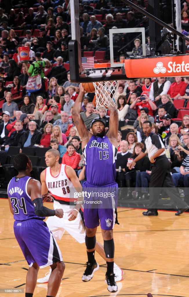 DeMarcus Cousins #15 of the Sacramento Kings goes to the basket during the game between the Sacramento Kings and the Portland Trail Blazers on December 8, 2012 at the Rose Garden Arena in Portland, Oregon.