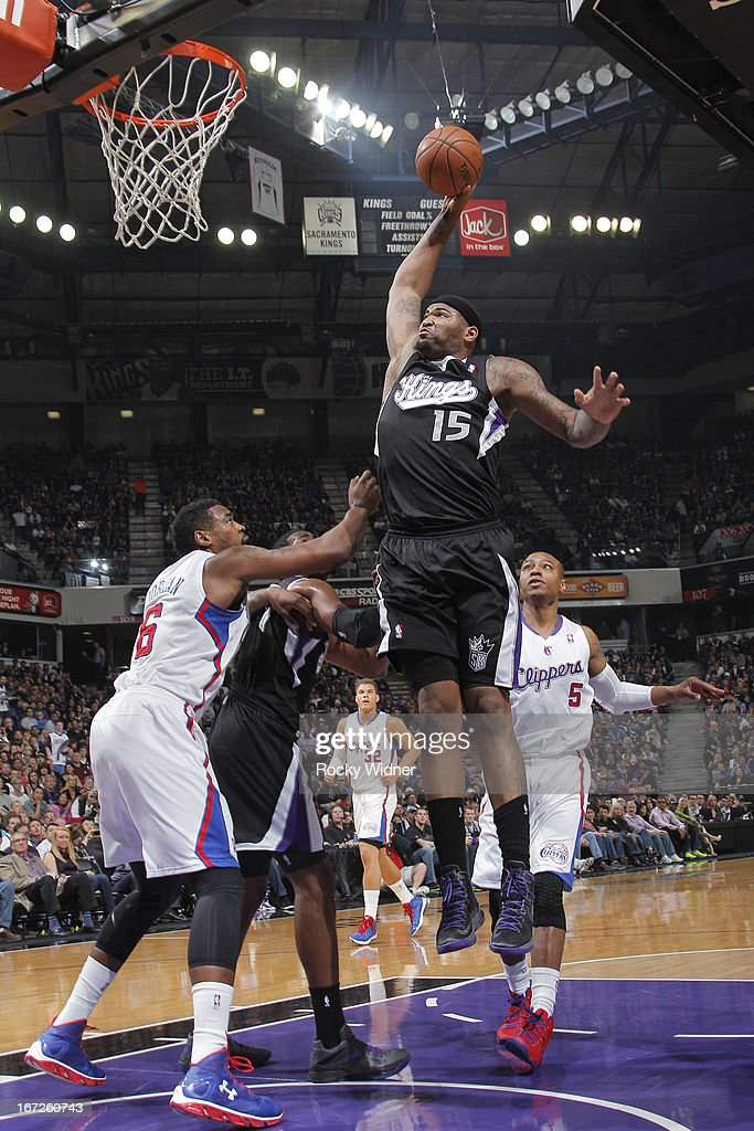 DeMarcus Cousins #15 of the Sacramento Kings goes up for the dunk against DeAndre Jordan #6 of the Los Angeles Clippers on April 17, 2013 at Sleep Train Arena in Sacramento, California.