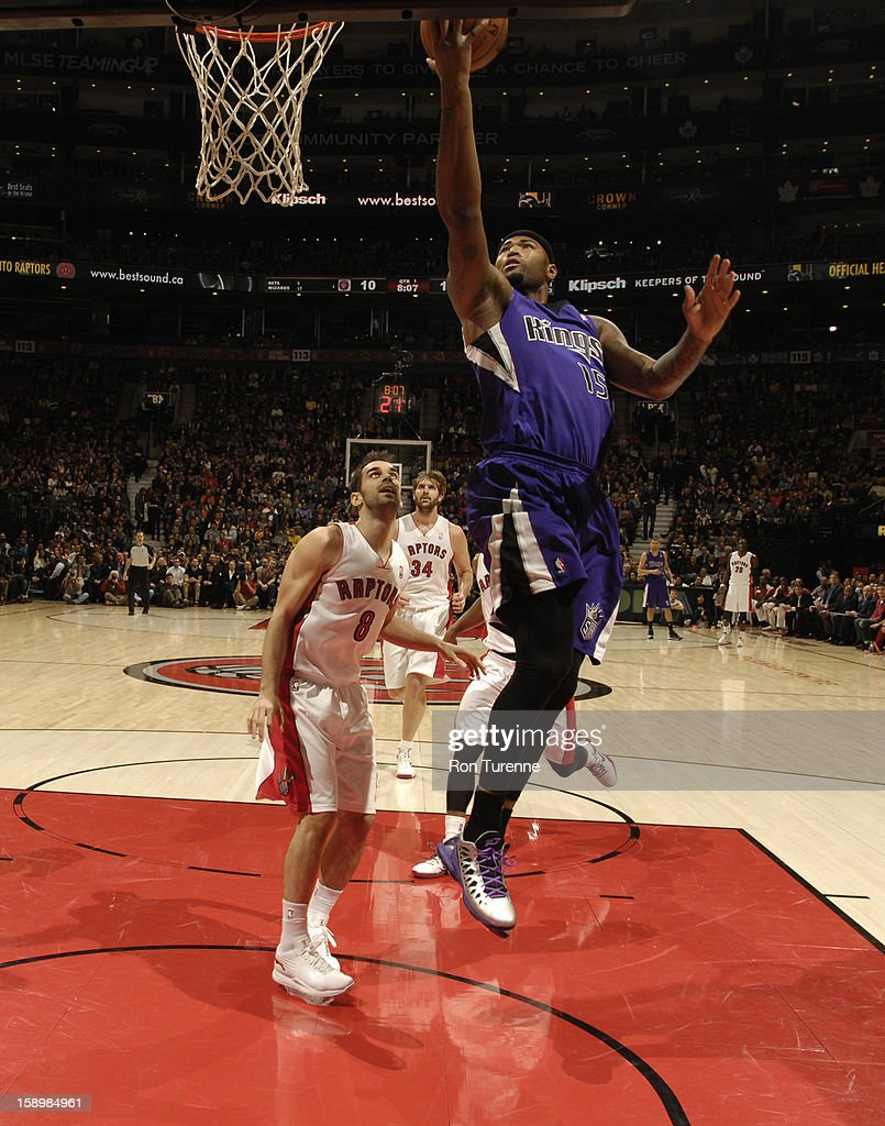 DeMarcus Cousins #15 of the Sacramento Kings goes up for the layup against the Toronto Raptors during the game on January 4, 2013 at the Air Canada Centre in Toronto, Ontario, Canada.
