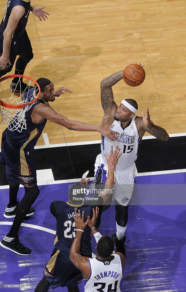 DeMarcus Cousins #15 of the Sacramento Kings goes up for the shot against the New Orleans Pelicans on March 3, 2014 at Sleep Train Arena in Sacramento, California.