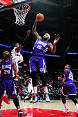 DeMarcus Cousins of the Sacramento Kings grabs a rebound against the Atlanta Hawks on March 9 2015 at Philips Arena in Atlanta Georgia NOTE TO USER...