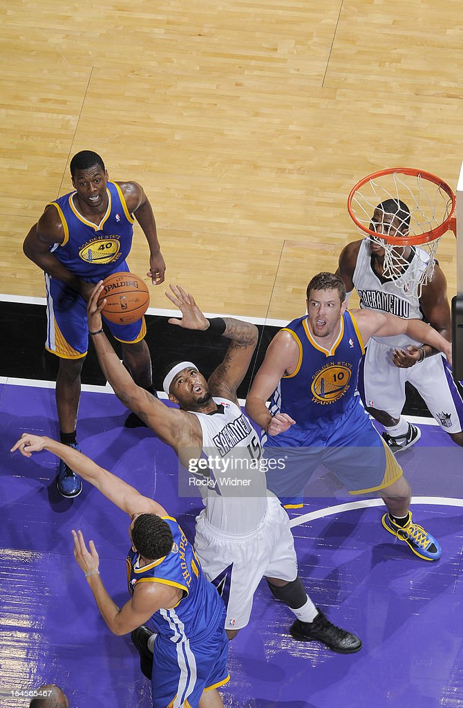 DeMarcus Cousins #15 of the Sacramento Kings grabs the offensive rebound against the Golden State Warriors on October 17, 2012 at Power Balance Pavilion in Sacramento, California.