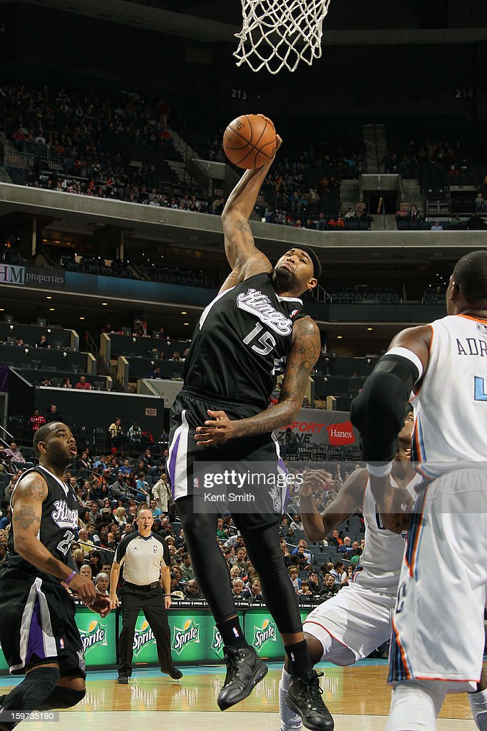 DeMarcus Cousins #15 of the Sacramento Kings grabs the rebound against the Charlotte Bobcats at the Time Warner Cable Arena on January 19, 2013 in Charlotte, North Carolina.
