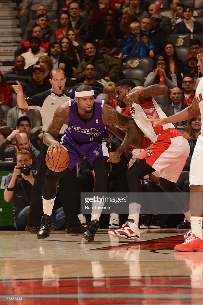 <a gi-track='captionPersonalityLinkClicked' href=/galleries/search?phrase=DeMarcus+Cousins&family=editorial&specificpeople=5792008 ng-click='$event.stopPropagation()'>DeMarcus Cousins</a> #15 of the Sacramento Kings handles the ball against the Toronto Raptors on March 7, 2014 at the Air Canada Centre in Toronto, Ontario, Canada.