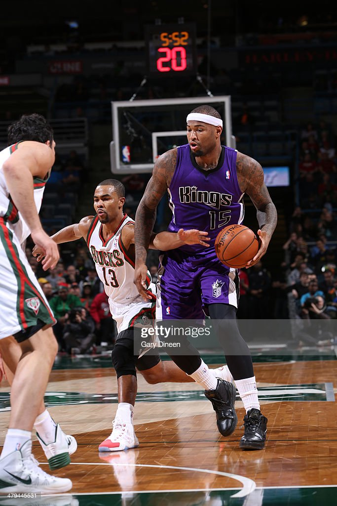 <a gi-track='captionPersonalityLinkClicked' href=/galleries/search?phrase=DeMarcus+Cousins&family=editorial&specificpeople=5792008 ng-click='$event.stopPropagation()'>DeMarcus Cousins</a> #15 of the Sacramento Kings handles the ball against the Milwaukee Bucks on March 5, 2014 at the BMO Harris Bradley Center in Milwaukee, Wisconsin.
