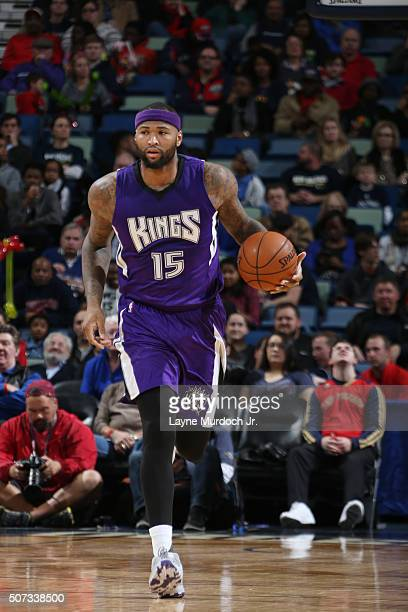 DeMarcus Cousins of the Sacramento Kings handles the ball against the New Orleans Pelicans on January 28 2016 at the Smoothie King Center in New...