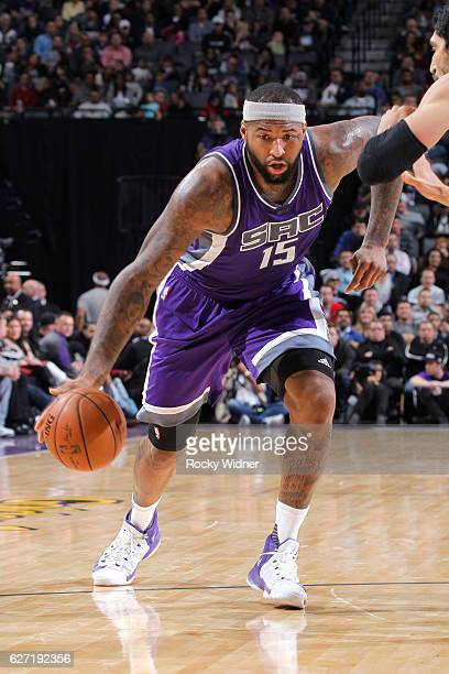DeMarcus Cousins of the Sacramento Kings handles the ball against the Oklahoma City Thunder on November 23 2016 at Golden 1 Center in Sacramento...