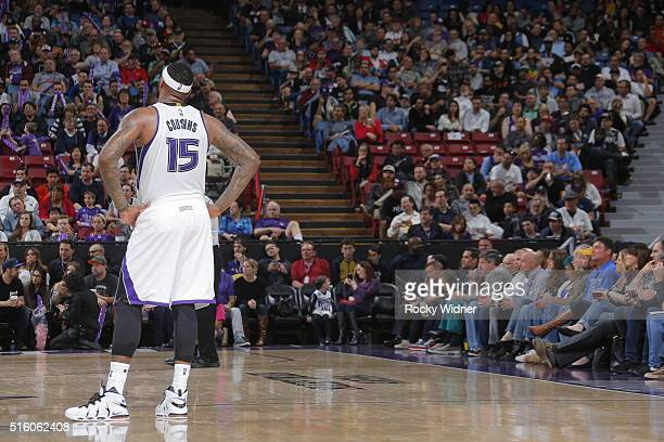 DeMarcus Cousins of the Sacramento Kings is seen during the game against the New Orleans Pelicans on March 16 2016 at Sleep Train Arena in Sacramento...