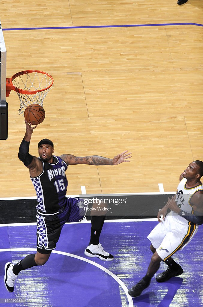 <a gi-track='captionPersonalityLinkClicked' href=/galleries/search?phrase=DeMarcus+Cousins&family=editorial&specificpeople=5792008 ng-click='$event.stopPropagation()'>DeMarcus Cousins</a> #15 of the Sacramento Kings lays the ball up against Paul Millsap #24 of the Utah Jazz on February 9, 2013 at Sleep Train Arena in Sacramento, California.