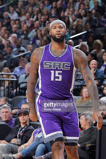 DeMarcus Cousins of the Sacramento Kings looks on during the game against the Oklahoma City Thunder on November 23 2016 at Golden 1 Center in...