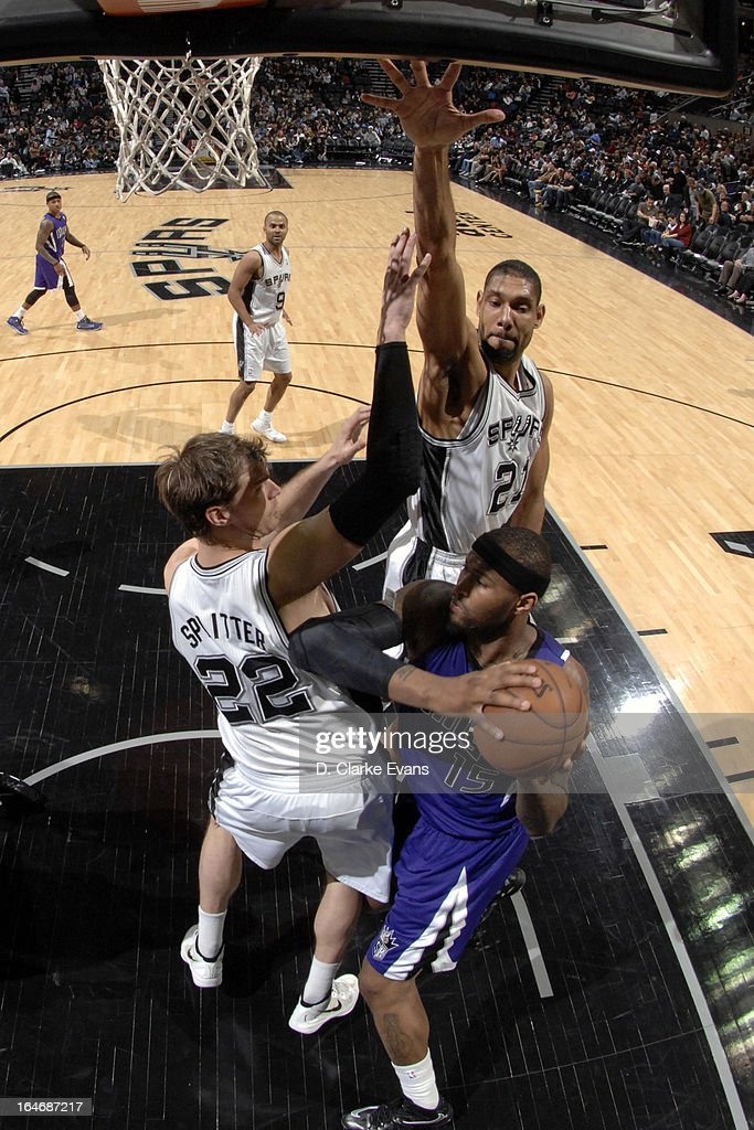 DeMarcus Cousins #15 of the Sacramento Kings looks to pass the ball against the San Antonio Spurs on March 1, 2013 at the AT&T Center in San Antonio, Texas.