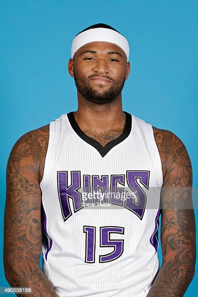 DeMarcus Cousins of the Sacramento Kings poses for a head shot on media day September 28 2015 at the Kings practice facility in Sacramento California...