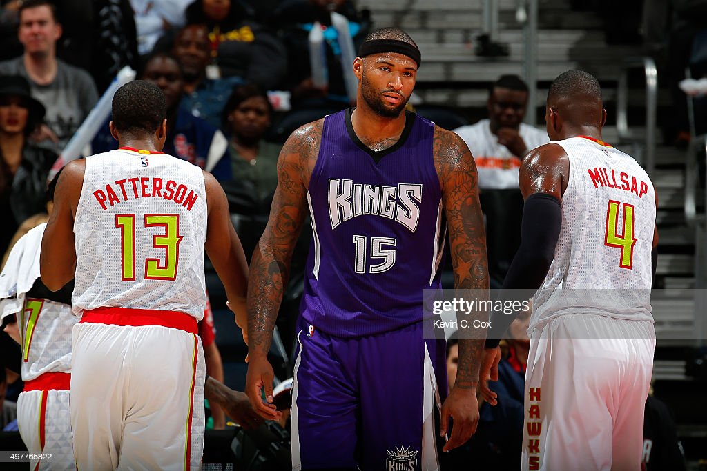 <a gi-track='captionPersonalityLinkClicked' href=/galleries/search?phrase=DeMarcus+Cousins&family=editorial&specificpeople=5792008 ng-click='$event.stopPropagation()'>DeMarcus Cousins</a> #15 of the Sacramento Kings reacts after being charged with a foul against Tiago Splitter #11 of the Atlanta Hawks at Philips Arena on November 18, 2015 in Atlanta, Georgia. NOTE TO USER User expressly acknowledges and agrees that, by downloading and or using this photograph, user is consenting to the terms and conditions of the Getty Images License Agreement.