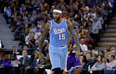 DeMarcus Cousins of the Sacramento Kings reacts after teammates Rajon Rondo made a threepoint basket against the Los Angeles Lakers at Sleep Train...