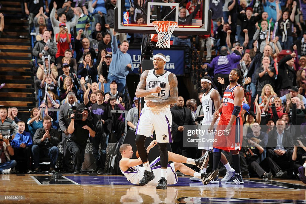 <a gi-track='captionPersonalityLinkClicked' href=/galleries/search?phrase=DeMarcus+Cousins&family=editorial&specificpeople=5792008 ng-click='$event.stopPropagation()'>DeMarcus Cousins</a> #15 of the Sacramento Kings reacts after the play against the Washington Wizards on January 16, 2013 at Sleep Train Arena in Sacramento, California.