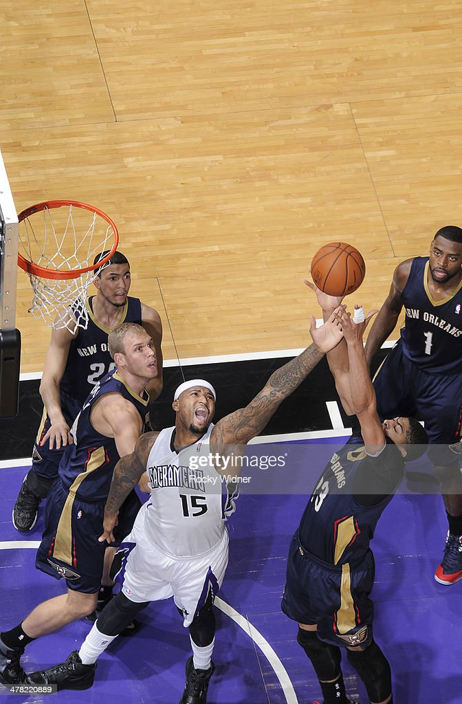 DeMarcus Cousins #15 of the Sacramento Kings rebounds against Anthony Davis #23 of the New Orleans Pelicans on March 3, 2014 at Sleep Train Arena in Sacramento, California.