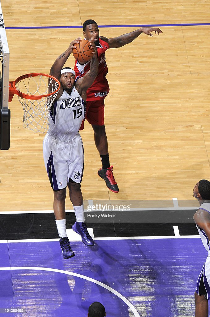 <a gi-track='captionPersonalityLinkClicked' href=/galleries/search?phrase=DeMarcus+Cousins&family=editorial&specificpeople=5792008 ng-click='$event.stopPropagation()'>DeMarcus Cousins</a> #15 of the Sacramento Kings rebounds against <a gi-track='captionPersonalityLinkClicked' href=/galleries/search?phrase=DeAndre+Jordan&family=editorial&specificpeople=4665718 ng-click='$event.stopPropagation()'>DeAndre Jordan</a> #6 of the Los Angeles Clippers on March 19, 2013 at Sleep Train Arena in Sacramento, California.