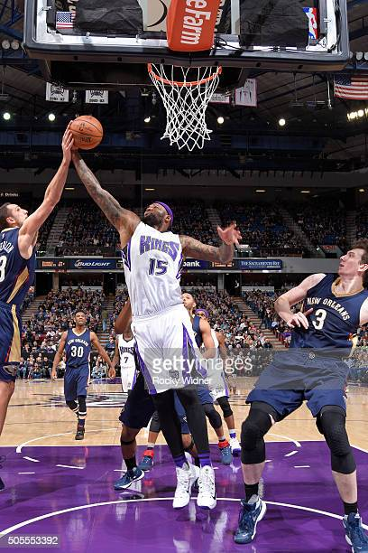 DeMarcus Cousins of the Sacramento Kings rebounds against the New Orleans Pelicans on January 13 2016 at Sleep Train Arena in Sacramento California...