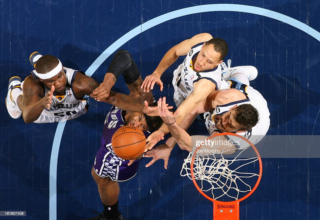 <a gi-track='captionPersonalityLinkClicked' href=/galleries/search?phrase=DeMarcus+Cousins&family=editorial&specificpeople=5792008 ng-click='$event.stopPropagation()'>DeMarcus Cousins</a> #15 of the Sacramento Kings rebounds against <a gi-track='captionPersonalityLinkClicked' href=/galleries/search?phrase=Zach+Randolph&family=editorial&specificpeople=201595 ng-click='$event.stopPropagation()'>Zach Randolph</a> #50, <a gi-track='captionPersonalityLinkClicked' href=/galleries/search?phrase=Tayshaun+Prince&family=editorial&specificpeople=201553 ng-click='$event.stopPropagation()'>Tayshaun Prince</a> #21, and <a gi-track='captionPersonalityLinkClicked' href=/galleries/search?phrase=Marc+Gasol&family=editorial&specificpeople=661205 ng-click='$event.stopPropagation()'>Marc Gasol</a> #33 of the Memphis Grizzlies on February 12, 2013 at FedExForum in Memphis, Tennessee.