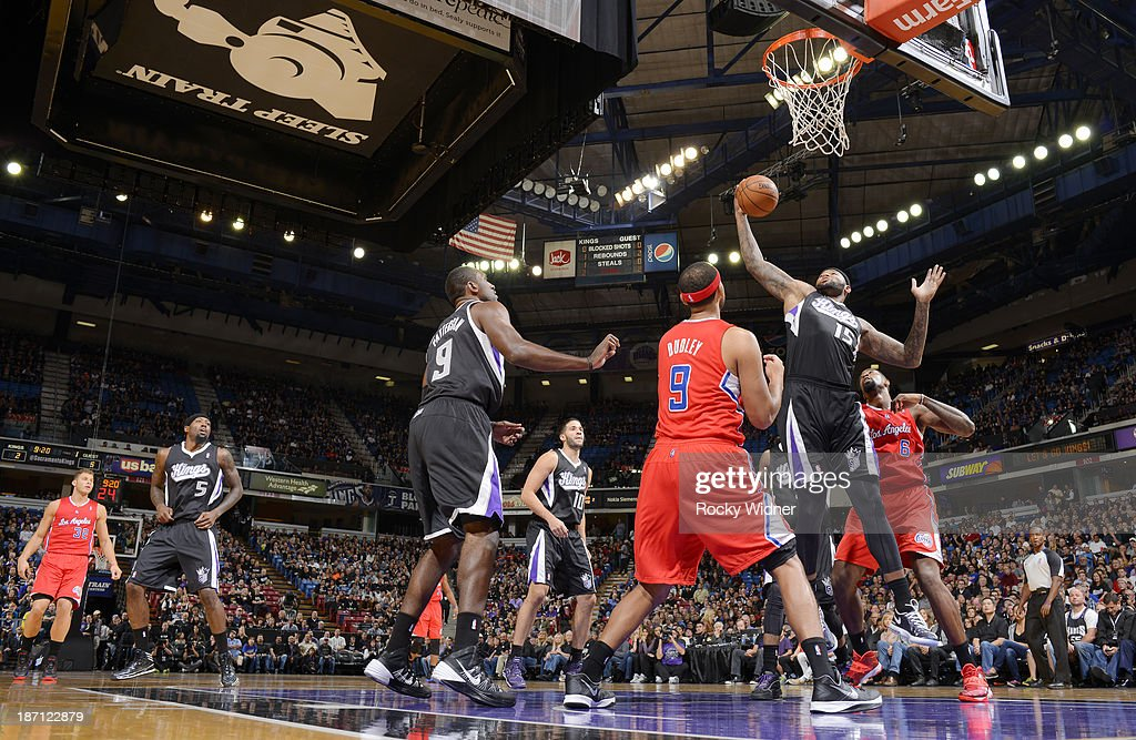 DeMarcus Cousins #15 of the Sacramento Kings rebounds the ball against the Los Angeles Clippers on November 1, 2013 at Sleep Train Arena in Sacramento, California.