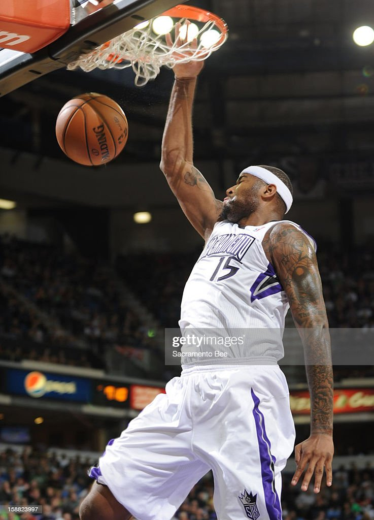 DeMarcus Cousins of the Sacramento Kings scores on a fast break play against the Boston Celtics during the first half on Sunday, December 30, 2012 at Sleep Train Arena in Sacramento, California.