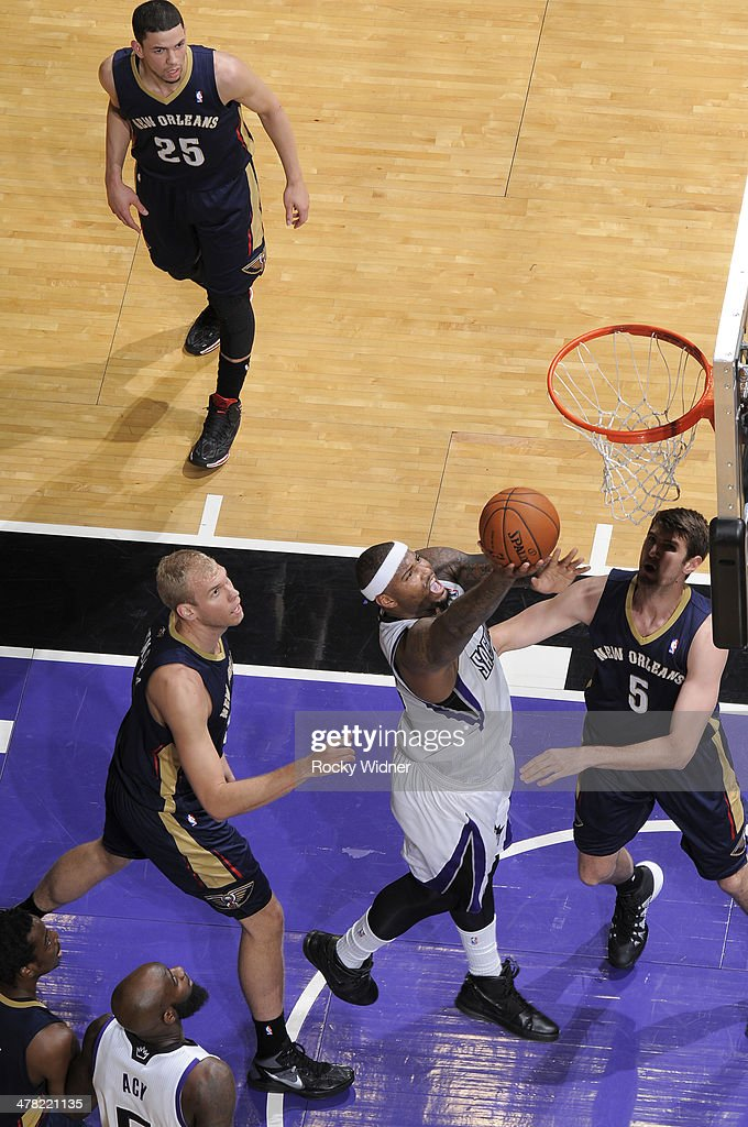 DeMarcus Cousins #15 of the Sacramento Kings shoots a layup against the New Orleans Pelicans on March 3, 2014 at Sleep Train Arena in Sacramento, California.