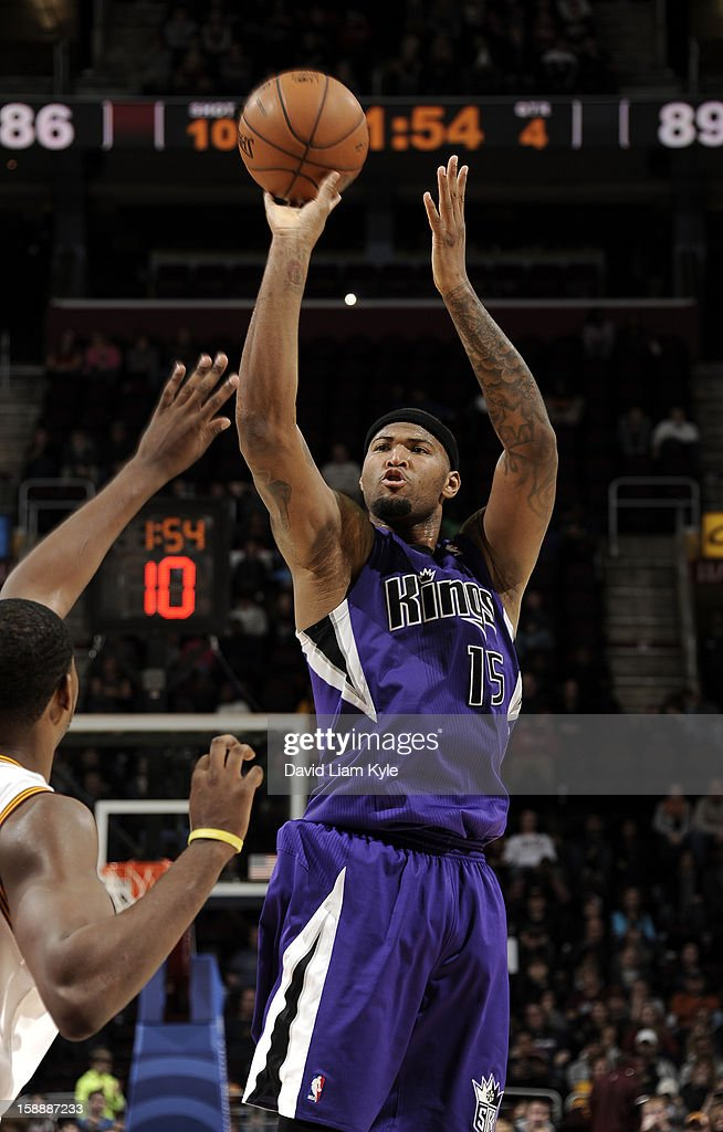<a gi-track='captionPersonalityLinkClicked' href=/galleries/search?phrase=DeMarcus+Cousins&family=editorial&specificpeople=5792008 ng-click='$event.stopPropagation()'>DeMarcus Cousins</a> #15 of the Sacramento Kings shoots against the Cleveland Cavaliers at The Quicken Loans Arena on January 2, 2013 in Cleveland, Ohio.
