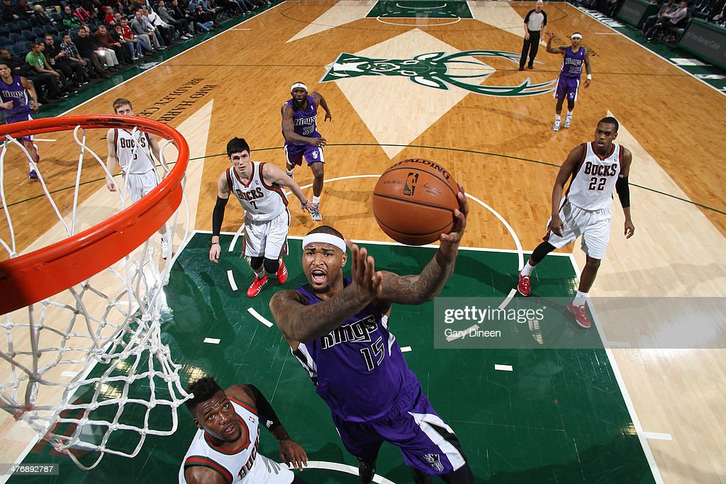 DeMarcus Cousins #15 of the Sacramento Kings shoots against the Milwaukee Bucks on March 5, 2014 at the BMO Harris Bradley Center in Milwaukee, Wisconsin.