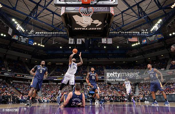 DeMarcus Cousins of the Sacramento Kings shoots against the New Orleans Pelicans on March 16 2016 at Sleep Train Arena in Sacramento California NOTE...