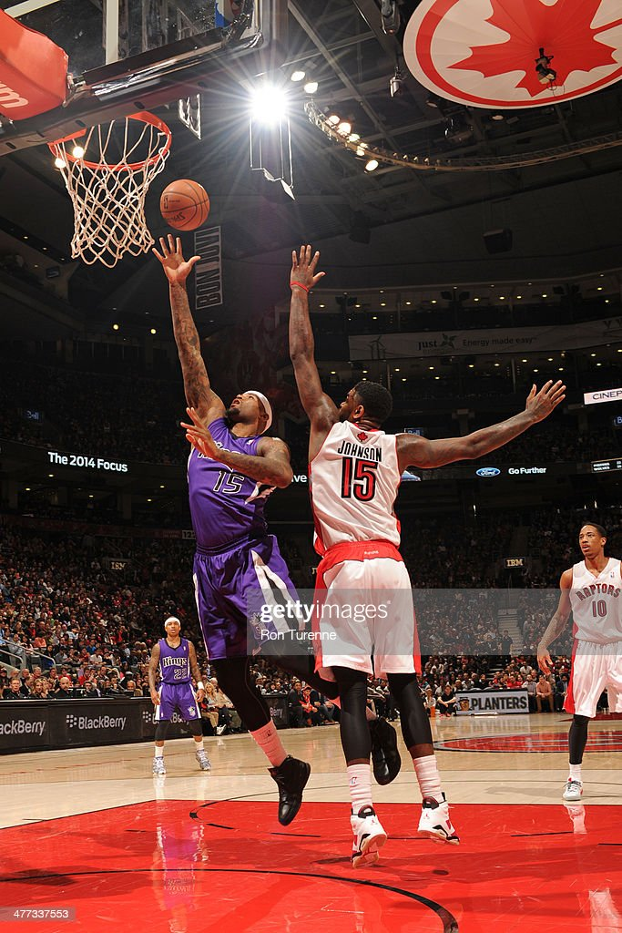 <a gi-track='captionPersonalityLinkClicked' href=/galleries/search?phrase=DeMarcus+Cousins&family=editorial&specificpeople=5792008 ng-click='$event.stopPropagation()'>DeMarcus Cousins</a> #15 of the Sacramento Kings shoots against the Toronto Raptors on March 7, 2014 at the Air Canada Centre in Toronto, Ontario, Canada.