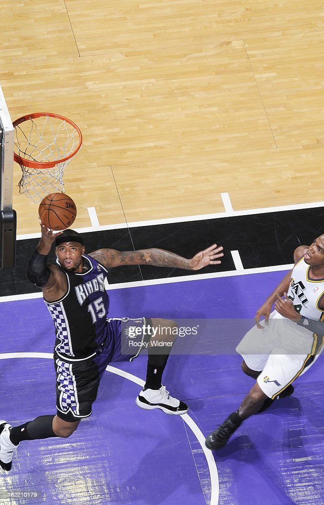 <a gi-track='captionPersonalityLinkClicked' href=/galleries/search?phrase=DeMarcus+Cousins&family=editorial&specificpeople=5792008 ng-click='$event.stopPropagation()'>DeMarcus Cousins</a> #15 of the Sacramento Kings shoots against the Utah Jazz on February 9, 2013 at Sleep Train Arena in Sacramento, California.