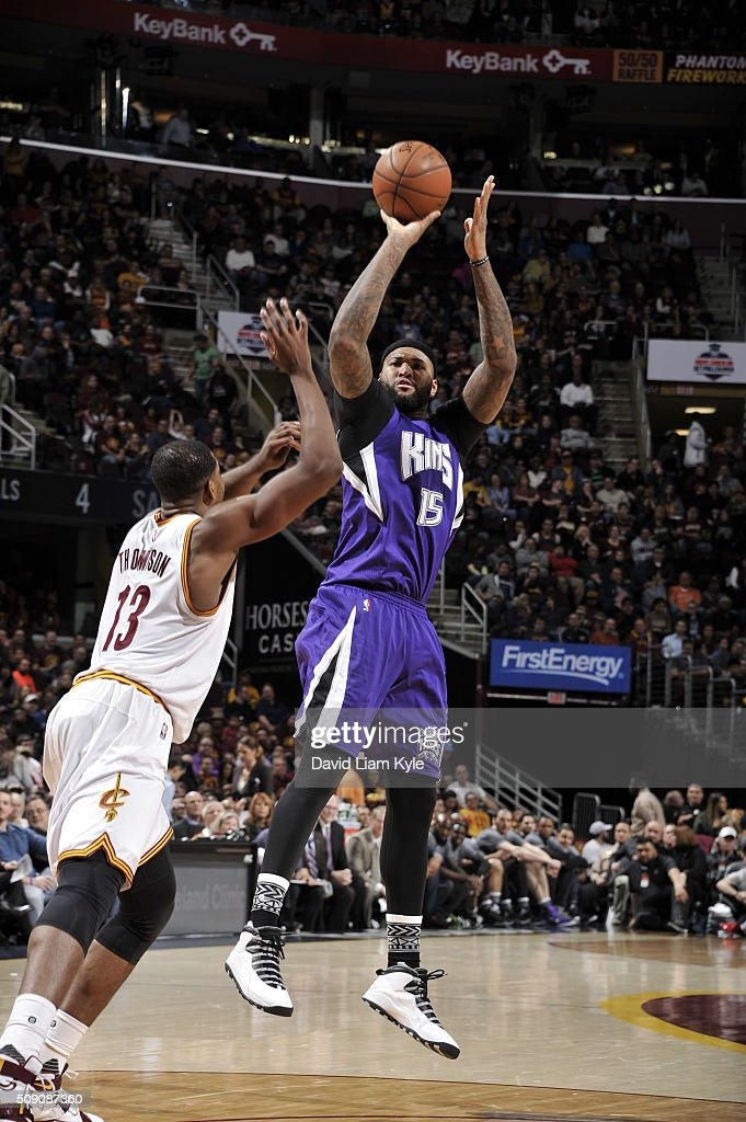 <a gi-track='captionPersonalityLinkClicked' href=/galleries/search?phrase=DeMarcus+Cousins&family=editorial&specificpeople=5792008 ng-click='$event.stopPropagation()'>DeMarcus Cousins</a> #15 of the Sacramento Kings shoots against <a gi-track='captionPersonalityLinkClicked' href=/galleries/search?phrase=Tristan+Thompson&family=editorial&specificpeople=5799092 ng-click='$event.stopPropagation()'>Tristan Thompson</a> #13 of the Cleveland Cavaliers on February 8, 2016 at Quicken Loans Arena in Cleveland, Ohio.